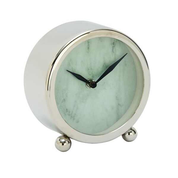 Benzara White Stainless Steel Table Clock