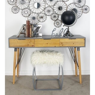 Modern Rectangular Wood and Metal Console Table Set by Studio 350