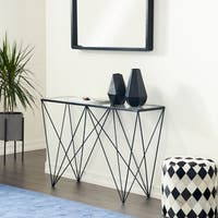 Modern Rectangular Glass and Metal Console Table by Studio 350