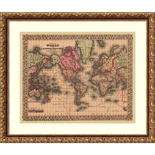 Framed Art Print 'Map of the World, 1867' by Ward Maps 21 x 18-inch