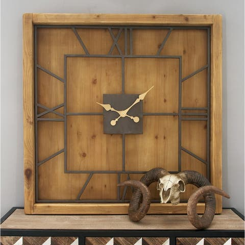 Natural 40 x 40 Inch Stained Wood and Iron Wall Clock by Studio 350