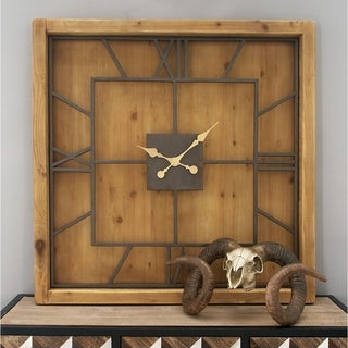 Studio 350 Wood Metal Square Wall Clock 40 inches wide, 40 inches high