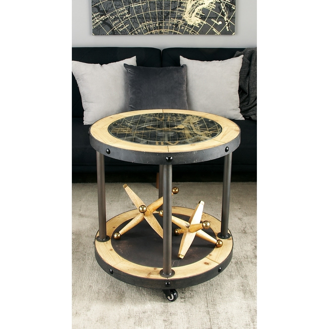 Bon Shop Industrial 25 X 24 Inch Metal And Wood Clock Side Table By Studio 350    Free Shipping Today   Overstock   13034433