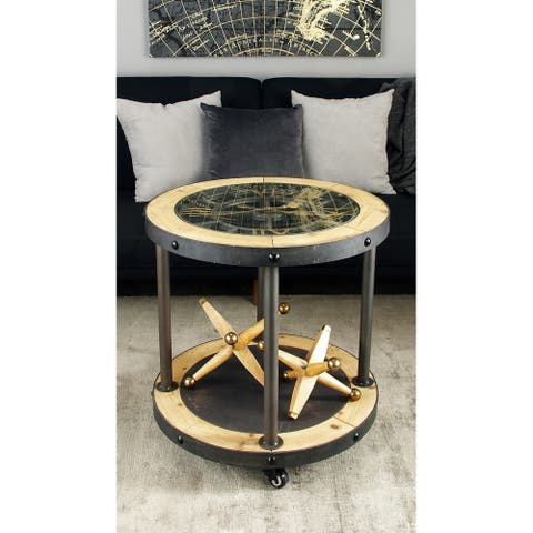 Industrial 25 x 24 Inch Metal and Wood Clock Side Table by Studio 350