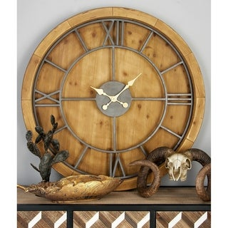 Natural 40 Inch Brown Wood and Metal Round Wall Clock by Studio 350