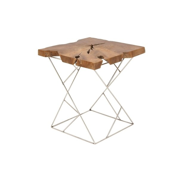 Benzara Teak and Metal Side Table