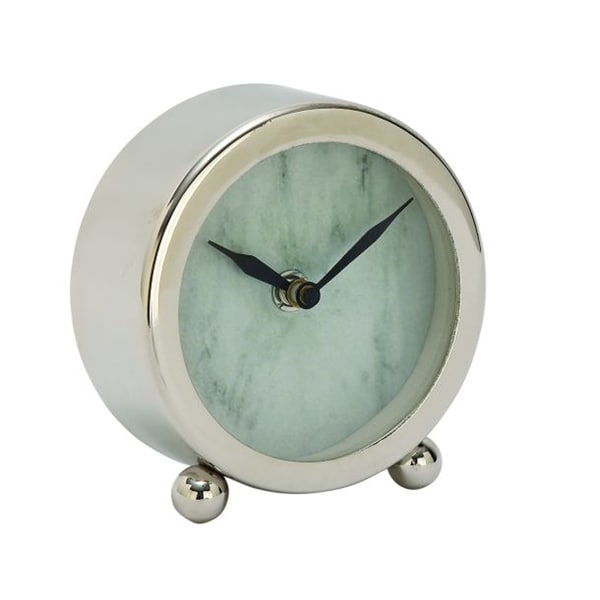 Benzara Enticing Stainless Steel Table Clock