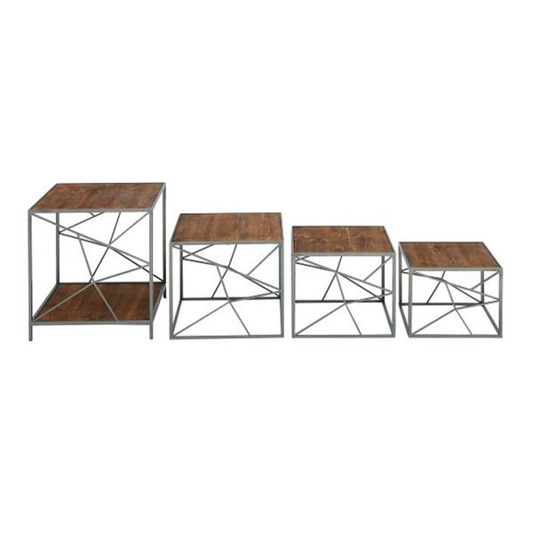 Benzara Metal and Wood Tables (Pack of 4)