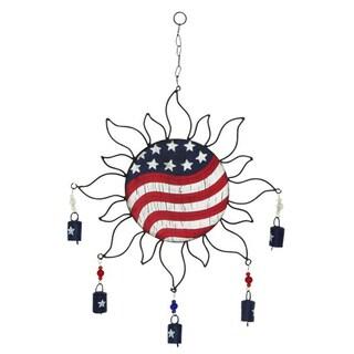 Benzara Metal American Flag Sun Windchime