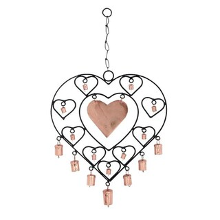 Benzara Fashionable Iron Metal Heart Windchime