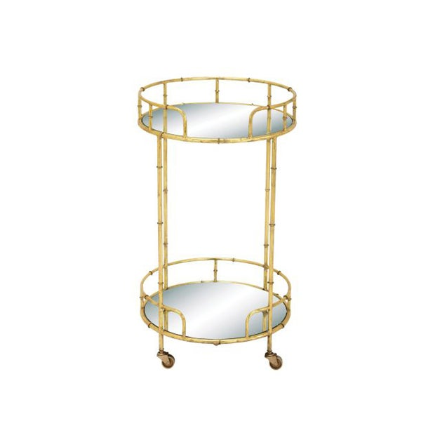 Studio 350 Metal Mirror Bar Cart 18 inches D, 31 inches high