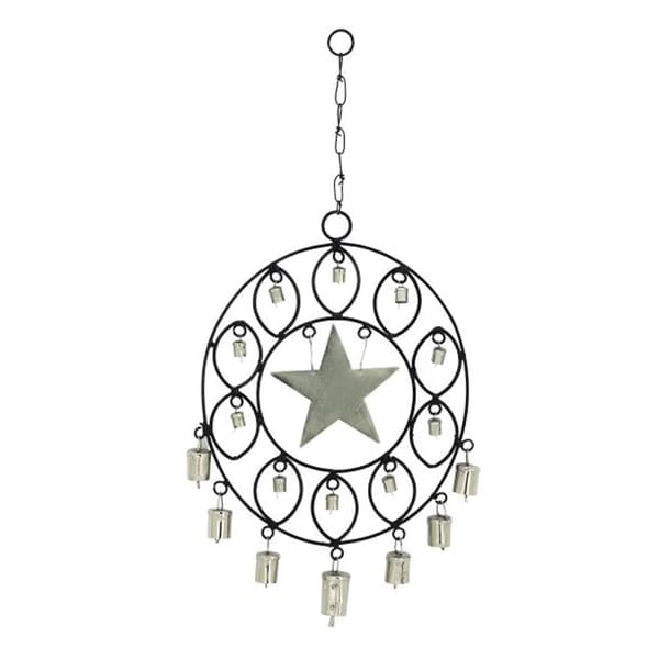 Benzara Black and Silvertone Metal Star Wind Chime