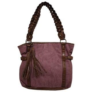 Bueno 'Tara' Purple Faux Leather Tote Bag