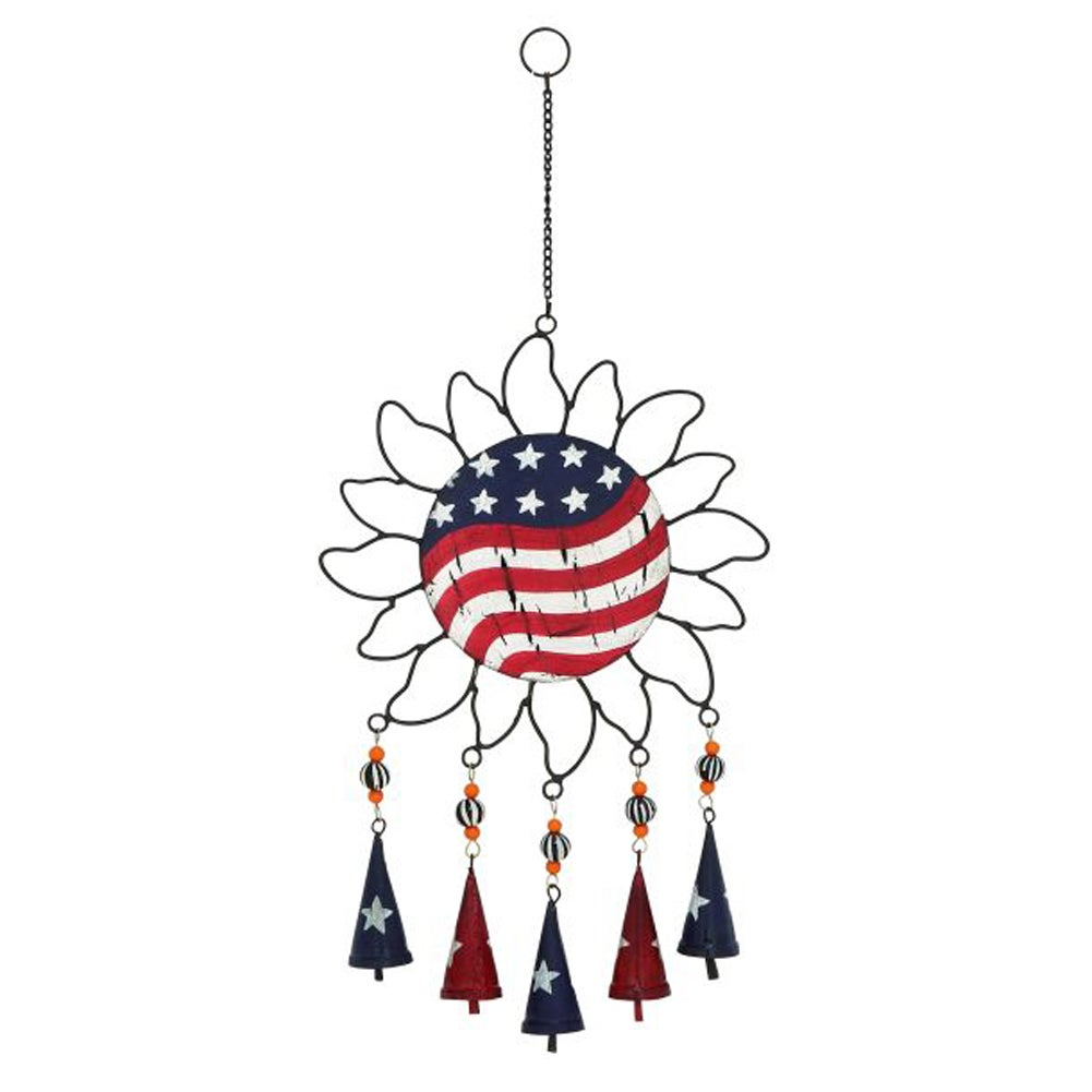 Benzara Fashionable Metal Sun Windchime (Red, Blue And Wh...