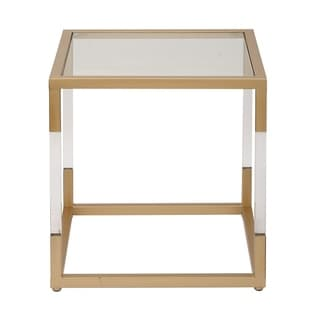 Studio 350 Metal Glass Acrylic End Table 19 inches wide, 20 inches high
