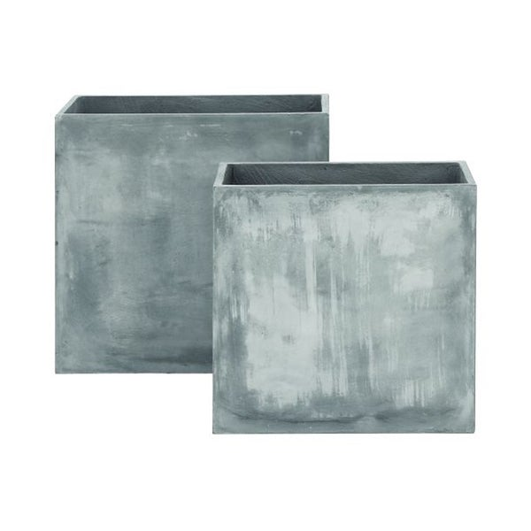 Studio 350 Fiberclay Grey Planter Set of 2, 24 inches, 28 inches high