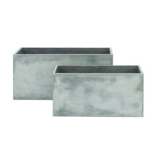 Benzara Simple Grey Fiber Clay Planter (Pack of 2)