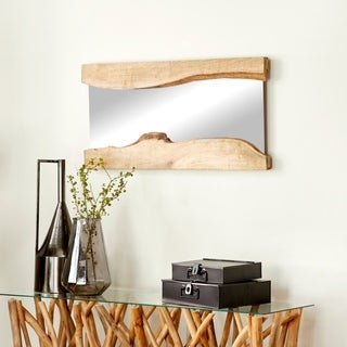 Live Edge Natural Wood Wall Mirror (Pack of 2)