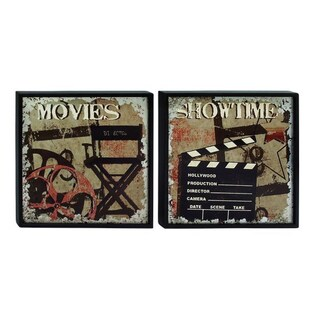 Studio 350 Wood Wall Plaque Set of 2, 24 inches wide, 24 inches high - Black