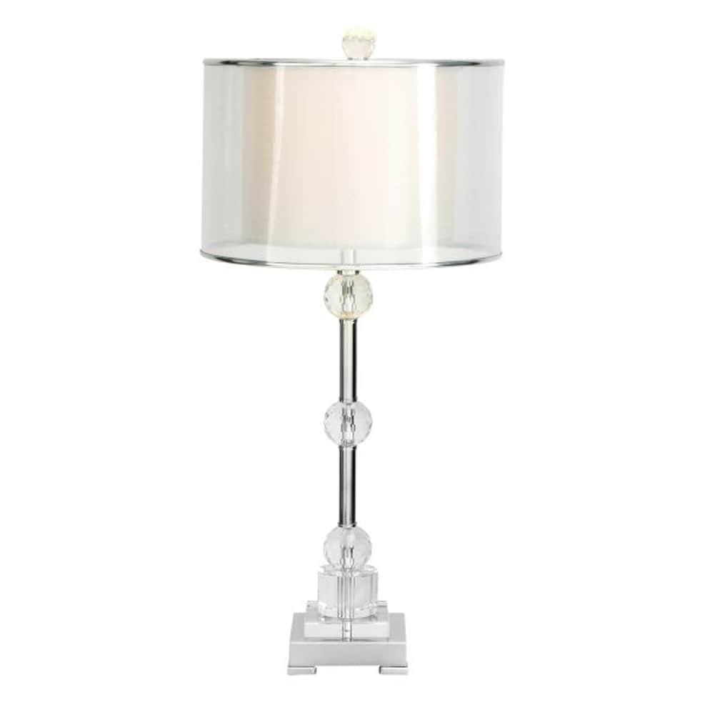 Benzara Metal (Grey) Crystal Table Lamp (Pearl & Transluc...