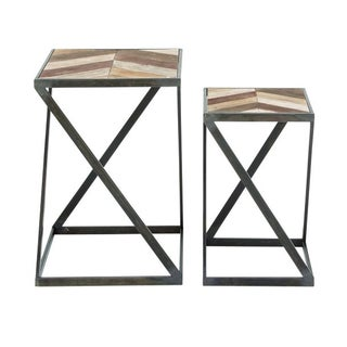 Benzara Metal and Wood Side Tables (Pack of 2)