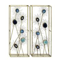 Benzara Metal and Wood Wall Decor (Pack of 2) - GOLD