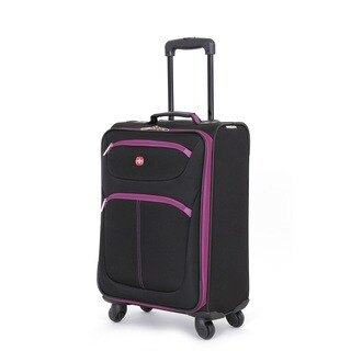 SwissGear Black/Purple Polyester Lightweight 20-inch Carry-on Spinner Suitcase
