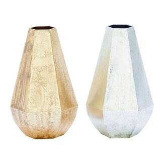 Benzara Gold and Silver Iron 2-piece Vase Set