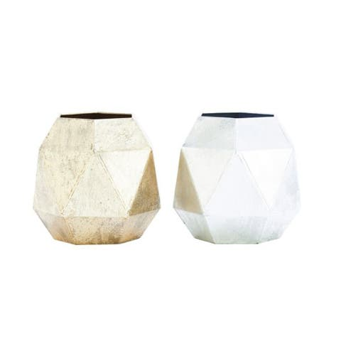 Benzara Off-white Metal Vase (Set of 2)