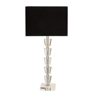 Benzara Black Metal Crystal Table Lamp