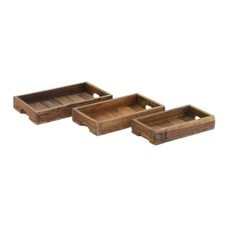 Benzara Brown Wooden Tray (Pack of 3)