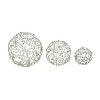 Benzara Silver-colored Metal Sphere (Pack of 3)