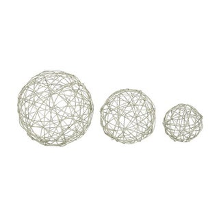 Silver Orchid Naldi Silver-colored Metal Sphere (Pack of 3)