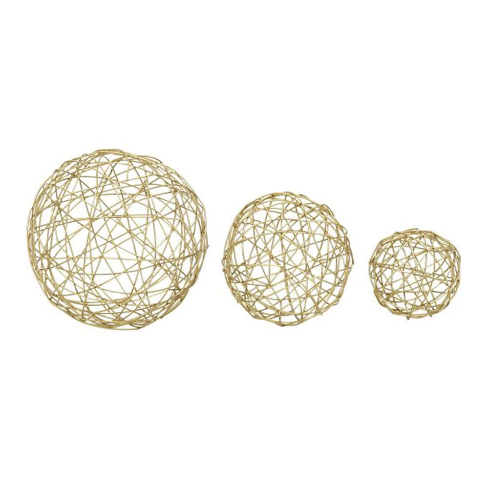 Benzara Chic Gold Metal Sphere (Pack of 3)