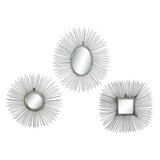 Benzara Metal Mirror 3-piece Wall Plaque Pack