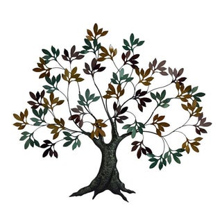 Metal/ Shell Tree with Leaves Wall Decor - Free Shipping Today ...