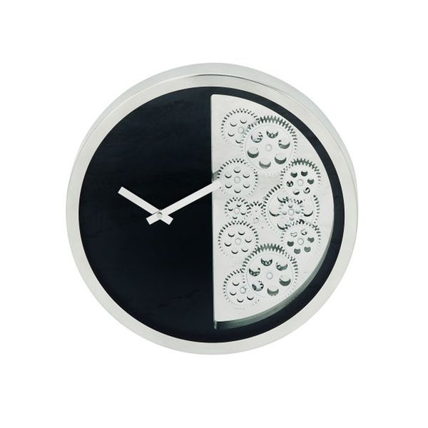 Benzara Fashionable Black/Silver Stainless Steel Gear Wall Clock