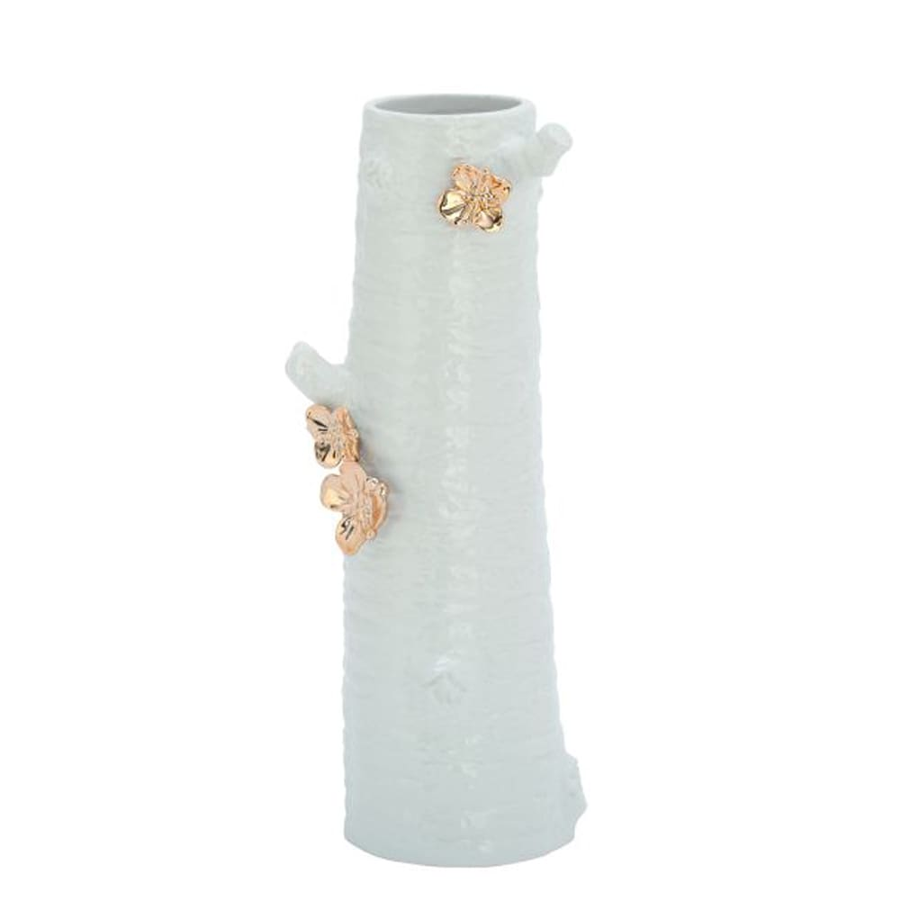 Benzara Ceramic Stump Vase (White & Gold)