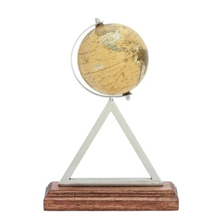 Benzara PVC Globe With Stainless Steel Frame and Wooden Base