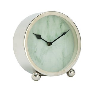 Benzara White and Chrome Stainless Steel Table Clock
