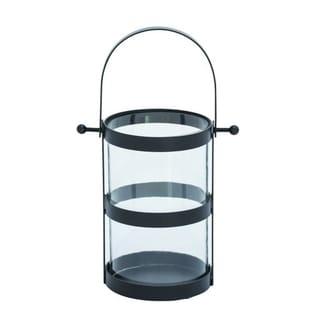 Benzara Mesmerizing Metal Glass Black Lantern