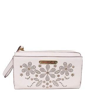 Nicole Lee Emilio White Floral Tassel Wallet
