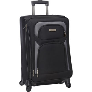 Kenneth Cole Reaction Black Polyester 24-inch Expandable Spinner Suitcase