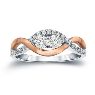Auriya 14k Two-Tone Gold 3/4ct TDW 2-Stone Round Diamond Engagement Ring (J-K, I1-I2)