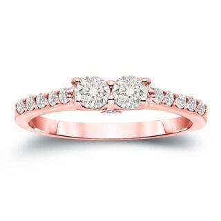 Auriya 14k Gold 3/4ct TDW Round Cut Diamond 2-Stone Engagement Ring (J-K, I1-I2)