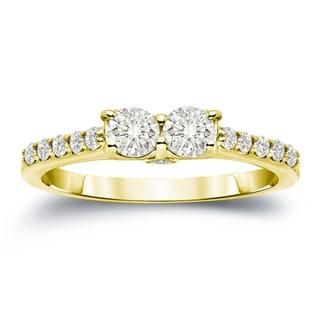 Auriya 14k Gold 1ct TDW Round Cut Diamond 2-Stone Engagement Ring (J-K, I1-I2)