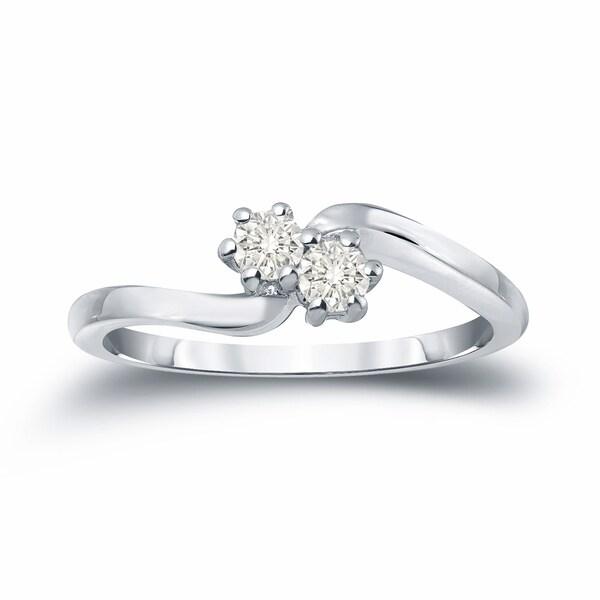 Auriya 14k Gold 1/4ct TDW Two-stone Diamond Engagement Ring
