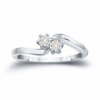 Auriya 14k Gold 1/4ct TDW Round Cut Diamond 2-Stone Engagement Ring (J-K, I1-I2)