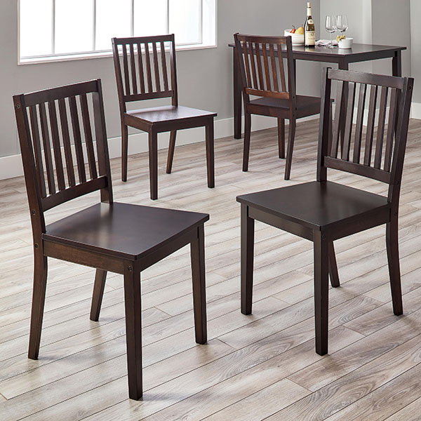 Simple Living Slat Espresso Rubberwood Dining Chairs (Set of 4)