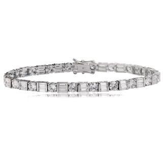 Avanti 14K White Gold 10 1/2 CT TDW Round and Baguette CZ Tennis Bracelet